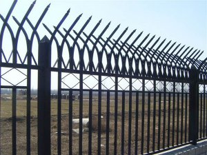 Curved Steel Picket Fence